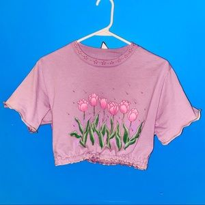 REWORKED Hanes Sparkly Tulip Cropped Tee